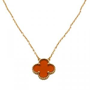 Van Cleef & Arpels Vintage Alhambra Carnelian 18k Yellow Gold Pendant Necklace
