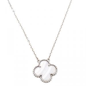 Van Cleef & Arpels Vintage Alhambra Chalcedony 18k White Gold Pendant Necklace