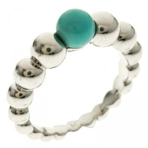 Van Cleef & Arpels Perlee Couleurs Variation Turquoise & 18k White Gold Ring Size 51