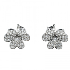 Van Cleef & Arpels Frivole Diamond Paved 18K White Gold Earrings