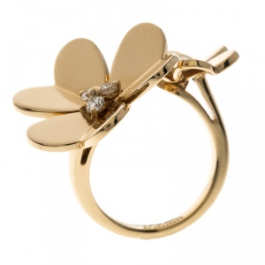 Van Cleef & Arpels Frivole Between the Fingers Diamond Yellow Gold Ring