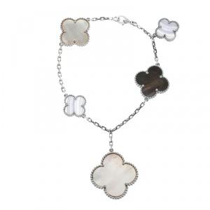 Van Cleef & Arpels Magic Alhambra Mother of Pearl Chalcedony 18k White Gold 5 Motif Bracelet