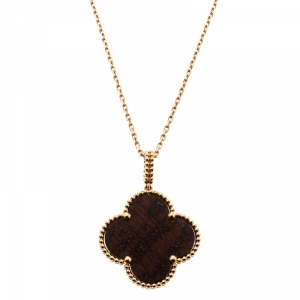 Van Cleef & Arpels Magic Alhambra 1 Motif Letterwood & 18k Rose Gold Long Necklace