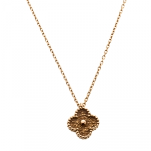 Van Cleef & Arpels Sweet Alhambra Textured 18k Rose Gold Pendant Necklace