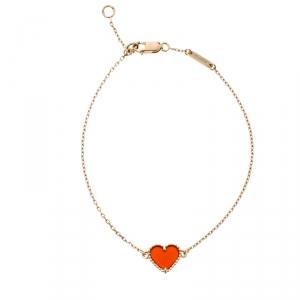 Van Cleef & Arpels Sweet Alhambra Heart Carnelian Rose Gold Bracelet
