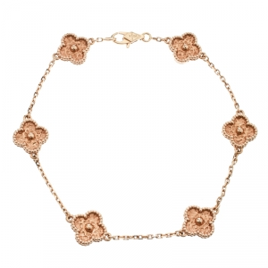 Van Cleef & Arpels Sweet Alhambra 6 Motif 18k Rose Gold Bracelet