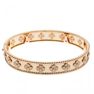 Van Cleef & Arpels Perlée Clover Diamond & 18k Rose Gold Bracelet M