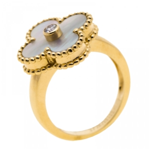 Van Cleef & Arpels Vintage Alhambra Diamond Mother of Pearl 18k Yellow Gold Ring Size 47