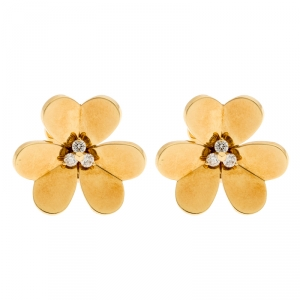 Van Cleef & Arpels Frivole Diamond 18k Yellow Gold Large Stud Earrings