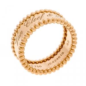 Van Cleef & Arpels Perlée Signature 18k Rose Gold Band Ring Size 52