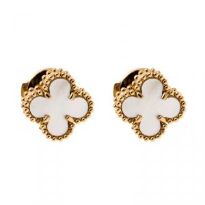 Van Cleef & Arpels Sweet Alhambra Mother of Pearl Yellow Gold Stud Earrings