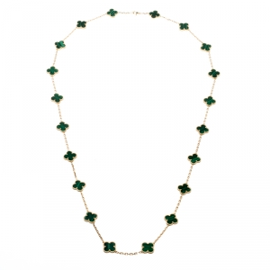Van Cleef & Arpels Vintage Alhambra Malachite 20 Motif 18k Yellow Gold Long Necklace