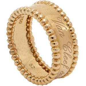 Van Cleef & Arpels Perlee Signature 18K Rose Gold Band Ring Size 52