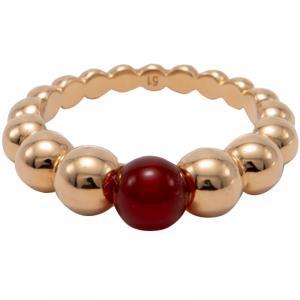 Van Cleef & Arpels Rose Gold Perlee Variation Couleurs Cornelian Ring Size 51
