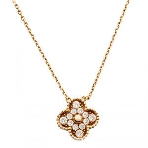 Van Cleef & Arpels Vintage Alhambra Diamond 18K Rose Gold Pendant Necklace
