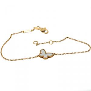 Van Cleef & Arpels White Mop Sweet Alhambra Butterfly 18K Yellow Gold Bracelet