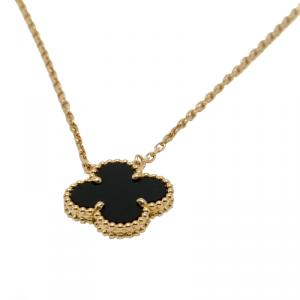 Van Cleef Onyx Vintage Alhambra 18K Yellow Gold Necklace