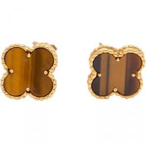 Van Cleef & Arpels Vintage Alhambra Tiger Eye Earrings