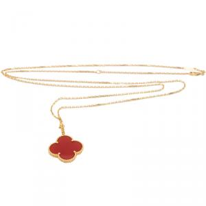 Van Cleef & Arpels Magic Alhambra Carnelian Long Chain Yellow Gold Necklace