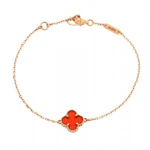 Van Cleef and Arpels Sweet Alhambra Red Carnelian 18k Rose Gold Bracelet