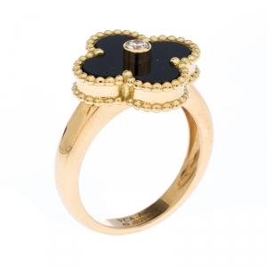 Van Cleef & Arpels Vintage Alhambra Diamond Onyx 18k Yellow Gold Ring Size 49