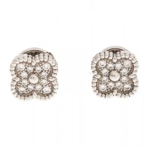 Van Cleef & Arpels Diamond Paved 18K White Gold Sweet Alhambra Earrings