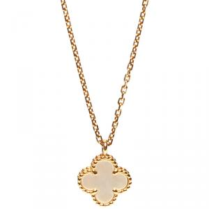 Van Cleef & Arpels Sweet Alhambra MOP 18K Yellow Gold Pendant Necklace