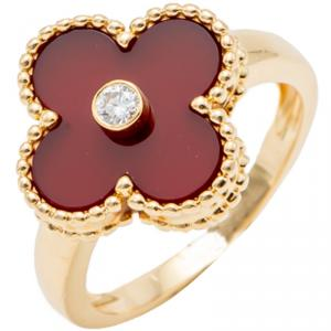 Van Cleef & Arpels Red Carnelian Vintage Alhambra Diamond Yellow Gold Size 52
