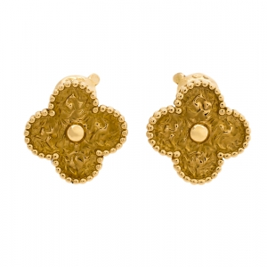 Van Cleef & Arpels Vintage Alhambra 18K Yellow Gold Clip On Stud Earrings