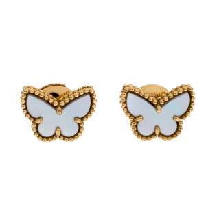 Van Cleef & Arpels Sweet Alhambra Butterfly Yellow Gold and Mother of Pearl Stud Earrings