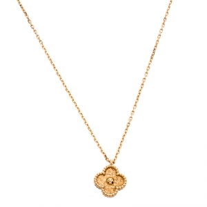 Van Cleef & Arpels Vintage 18K Rose Gold Alhambra Pendant Necklace