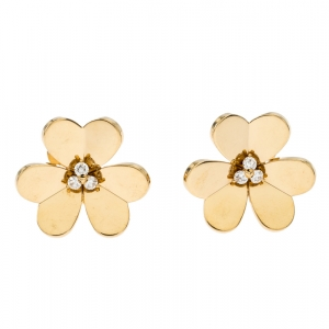 Van Cleef & Arpels Frivole Diamond 18k Yellow Gold Large Clip On Stud Earrings