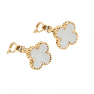 Van Cleef & Arpels  Mother Of Pearl  & Yellow Gold Vintage Alhambra Earrings