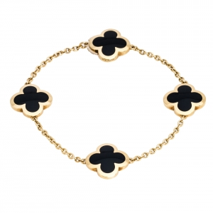 Van Cleef & Arpels Pure Alhambra 4 Onyx Motif 18K Yellow Gold Station Bracelet