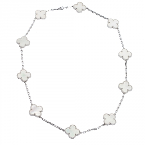 Van Cleef and Arpels Vintage Alhambra Mother of Pearl 10 Motif 18K White Gold Station Necklace
