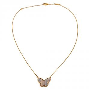 Van Cleef & Arpels Tiger's Eye Lucky Alhambra Butterfly Pendant Necklace