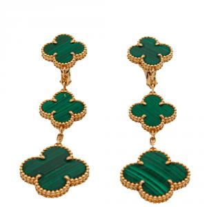 Van Cleef & Arpels Malachite Magic Alhambra 3 Motifs Yellow Gold Earrings