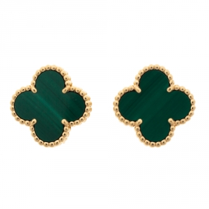 Van Cleef & Arpels Vintage Alhambra Malachite 18K Yellow Gold Stud Earrings