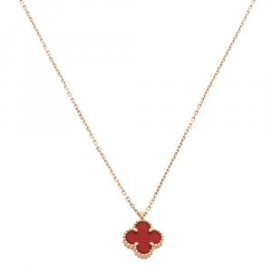Van Cleef & Arpels Sweet Alhambra Carnelian 18K Rose Gold Mini Pendant Chain Necklace