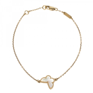 Van Cleef & Arpels Sweet Alhambra Mother of Pearl Butterfly 18K Yellow Gold Bracelet