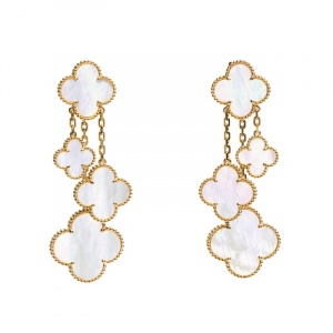Van Cleef & Arpels Magic Alhambra 4 Motif Mother of Pearl 18K Yellow Gold Long Earrings