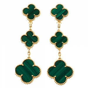 Van Cleef & Arpels Magic Alhambra 3 Motif Malachite 18K Yellow Gold Long Earrings