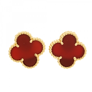 Van Cleef & Arpels Vintage Alhambra Carnelian 18k Yellow Gold Stud Earrings