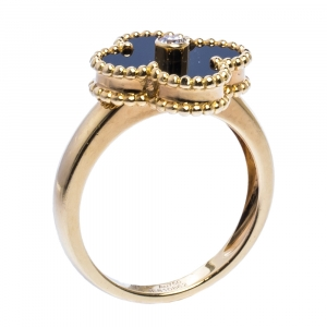 Van Cleef and Arpels Vintage Alhambra Onyx Diamond 18K Yellow Gold Ring 53