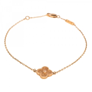 Van Cleef & Arpels Sweet Alhambra Textured 18k Rose Gold Bracelet