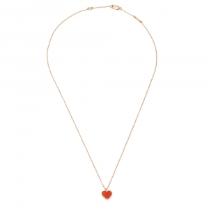 Van Cleef & Arpels Sweet Alhambra Heart Carnelian 18K Rose Gold Necklace