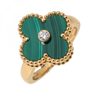 Van Cleef & Arpels Vintage Alhambra Diamond Malachite 18K Yellow Gold Ring 52