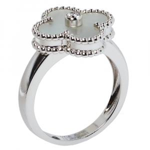 Van Cleef & Arpels Vintage Alhambra Mother of Pearl Diamond 18K White Gold Ring Size 53