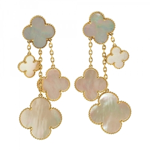Van Cleef & Arpels Magic Alhambra 4 Motifs Mother of Pearl 18K Yellow Gold Earrings
