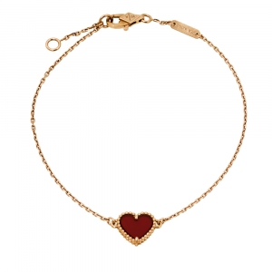Van Cleef & Arpels Sweet Alhambra Heart Carnelian 18K Rose Gold Bracelet